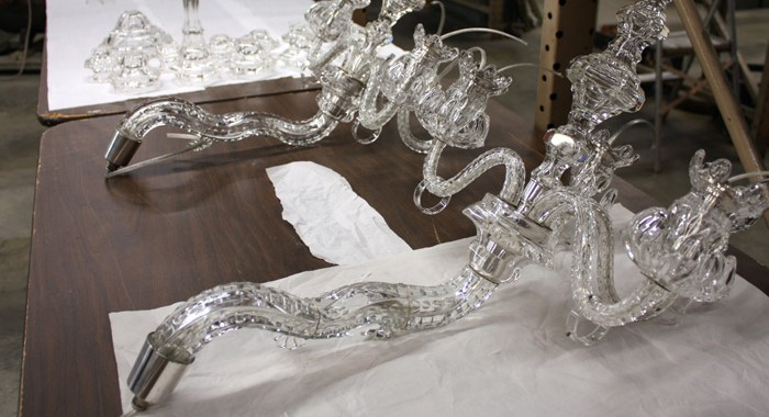 New Haven Museum Bohemian Crystal Chandeliers Restoration Continues