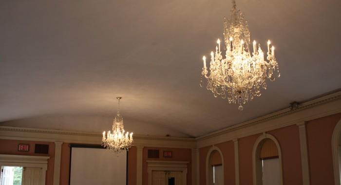New Haven Museum Vintage Bohemian Crystal Chandeliers Reinstalled