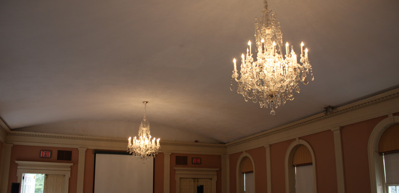 New Haven Museum Vintage Bohemian Crystal Chandeliers Reinstalled