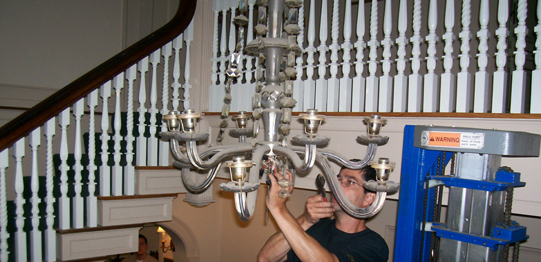 Minute Man National Historical Park Historic Chandelier Removed for Restoration