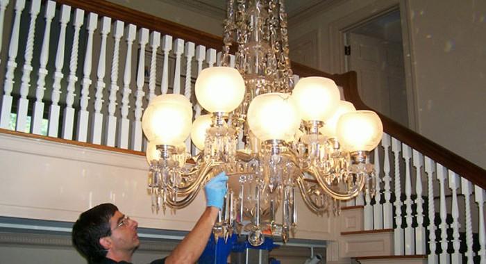 Restored Crystal Chandelier Reinstalled at Minute Man National Historical Park