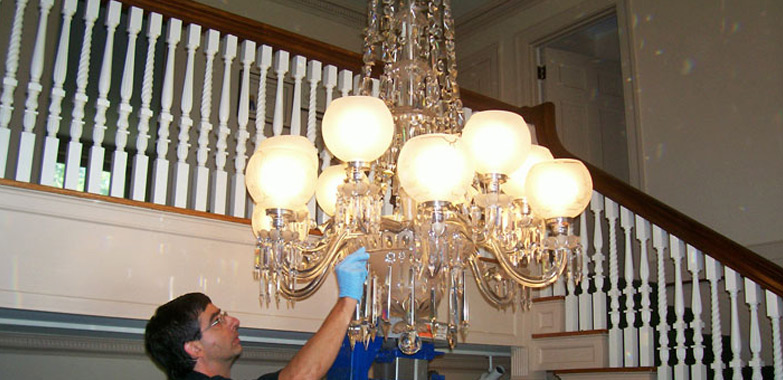 Restored Crystal Chandelier Reinstalled at Minute Man National Historical Park