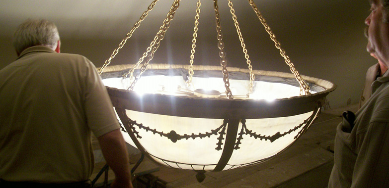 Shubert Theater Large Pendant Lighting Fixture Undergoes Restoration