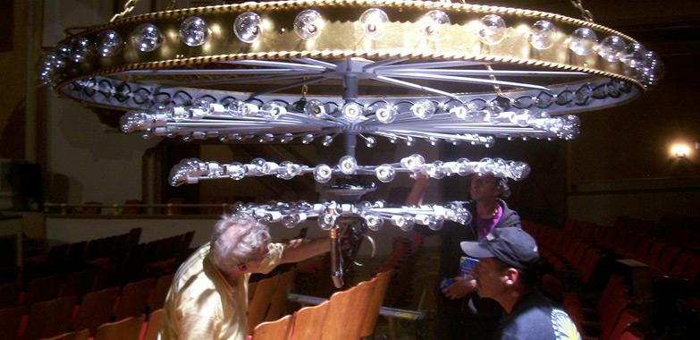 Saenger Theater Chandelier Restoration Begins