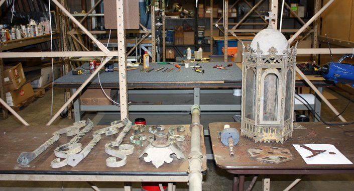 Shrine of the Miraculous Medal Outdoor Lantern Post Lighting Restoration