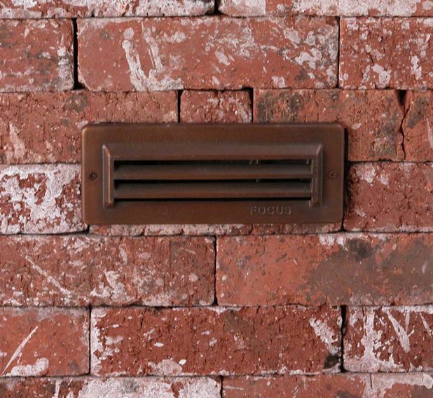 """3 Louver Brick Light 8.25"""" Incandescent Solid Brass 12v Step & Brick Landscape Light"""