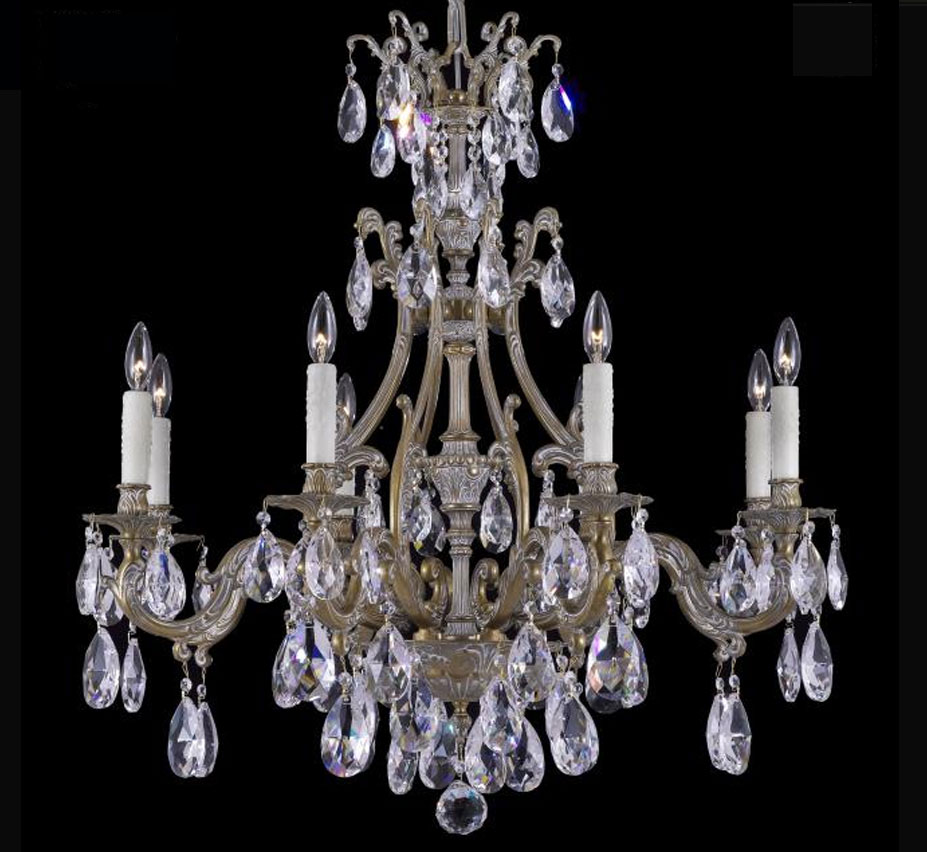 Chateau collection 8 light large brass crystal chandelier grand chateau collection 8 light large brass crystal chandelier arubaitofo Images