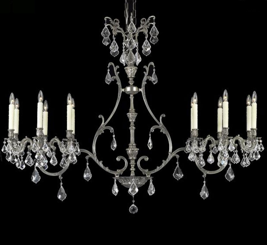 Chateau Collection 12 Light Brass And Crystal Linear