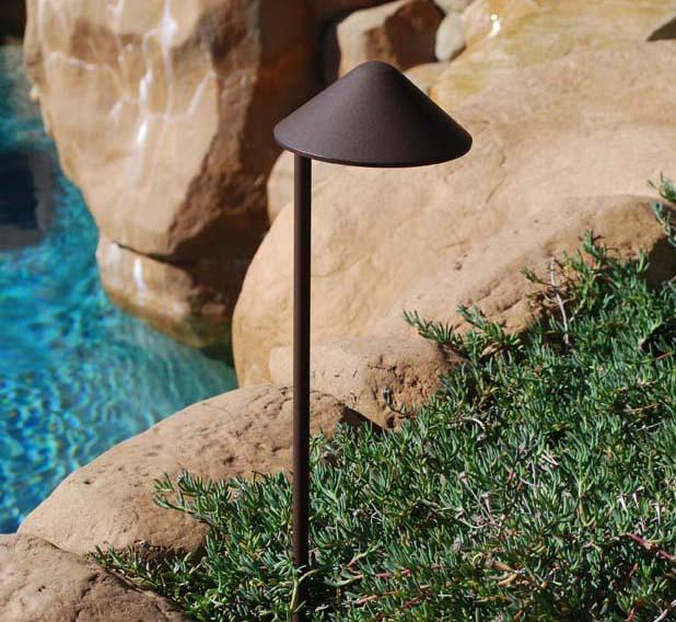 "China Hat 5.75"" Incandescent Cast Aluminum 12v Path Landscape Light"