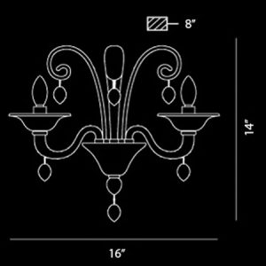 Ciatura-2-Light-Large-Contemporary-Wall-Sconce-40788-line-drawing