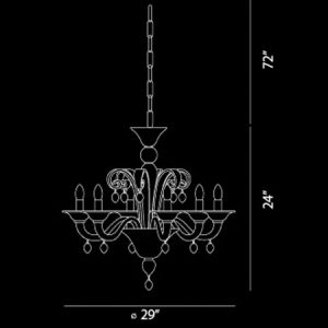 Ciatura-6-Light-Large-Contemporary-Chandelier-40786-line-drawing