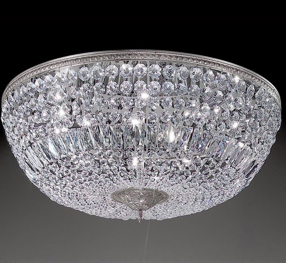 Crystal Baskets Collection 30 Dia Extra Large Brass Crystal Flush Mount Ceiling Light Grand Light