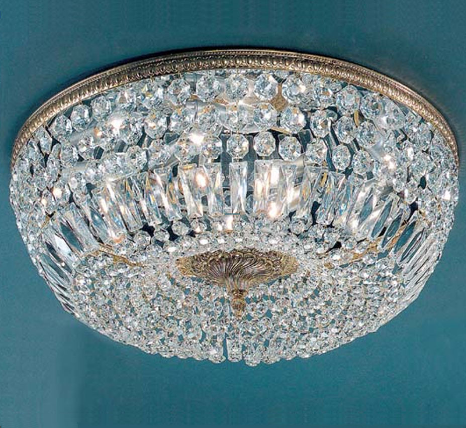 Crystal baskets collection 24 dia extra large brass crystal flush mount ceiling light