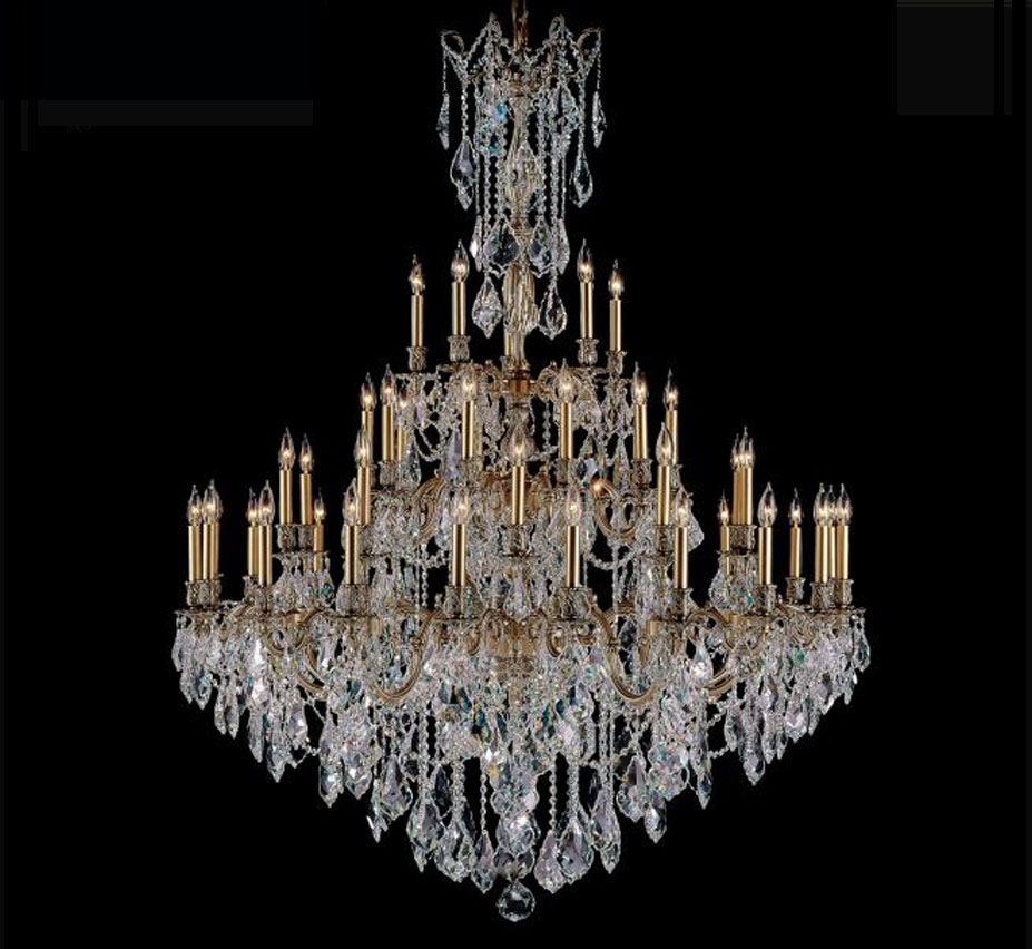 Elise Collection 45 Light Extra Large Brass Crystal Chandelier