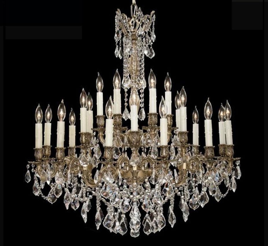 Elise Collection 24 Light Large Brass Amp Crystal Chandelier