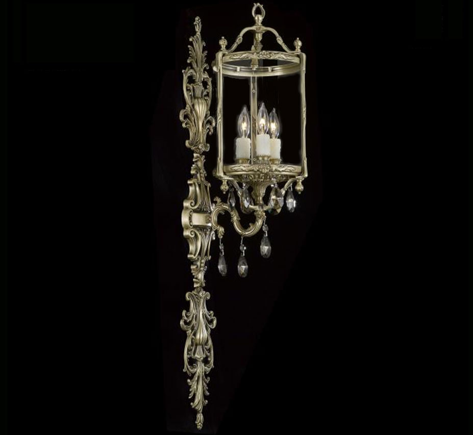 Lantern Collection 8 W Small Br Crystal Wall Sconce