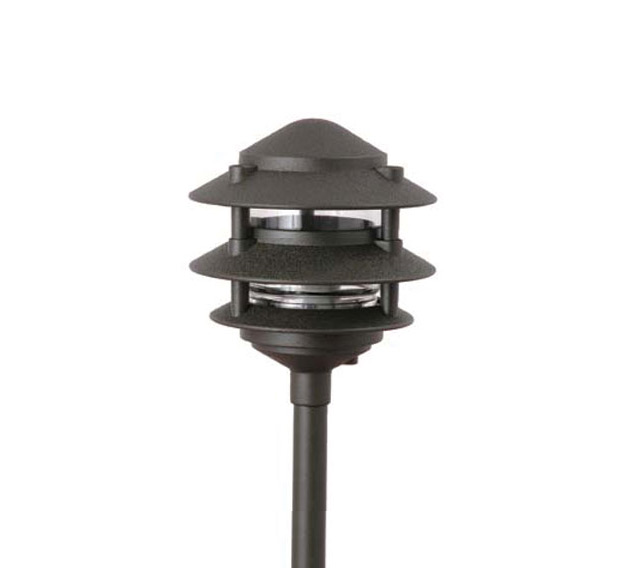 Pagoda hat 3 tier 6 integrated led cast aluminum 120v for 120v landscape lighting