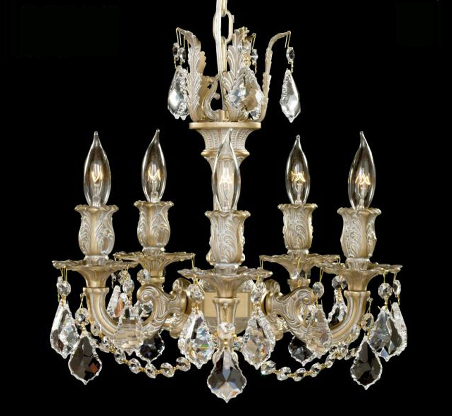 Rosetta collection 5 light mini brass crystal chandelier