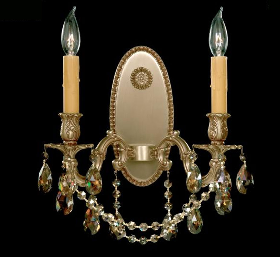 Brass Crystal Wall Sconces : Sconce Collection 13? W Medium Brass & Crystal Wall Sconce Grand Light