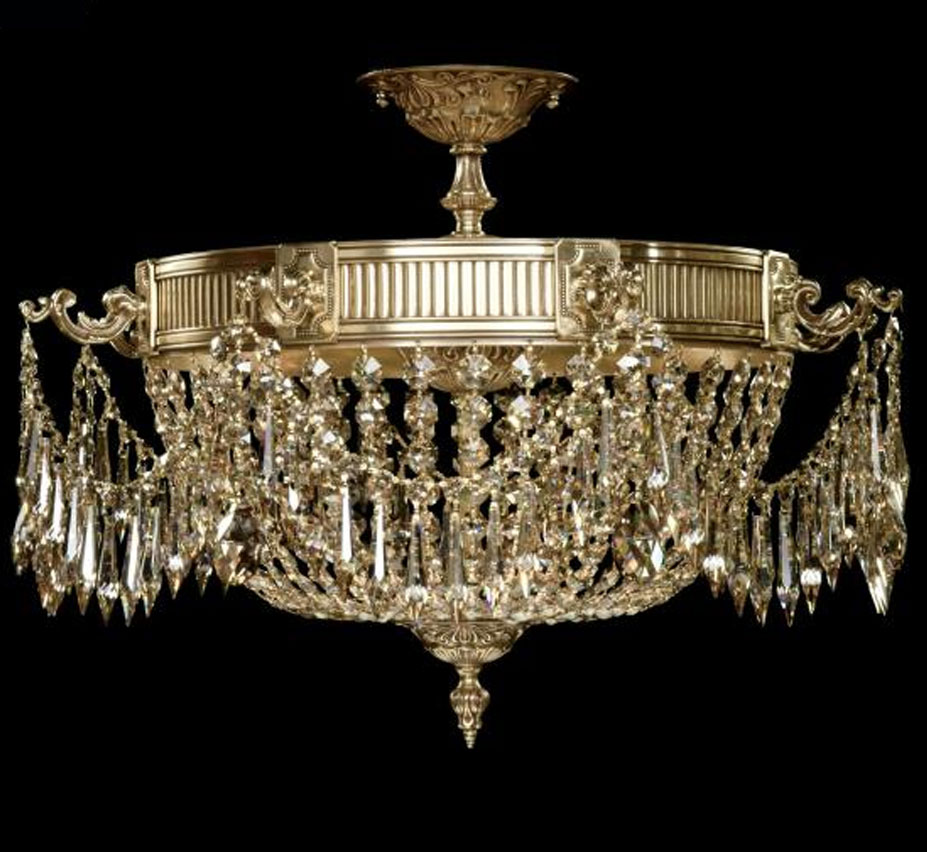 Valencia collection 24 dia extra large brass crystal semi flush valencia collection 24 dia extra large brass crystal semi flush ceiling light aloadofball Images