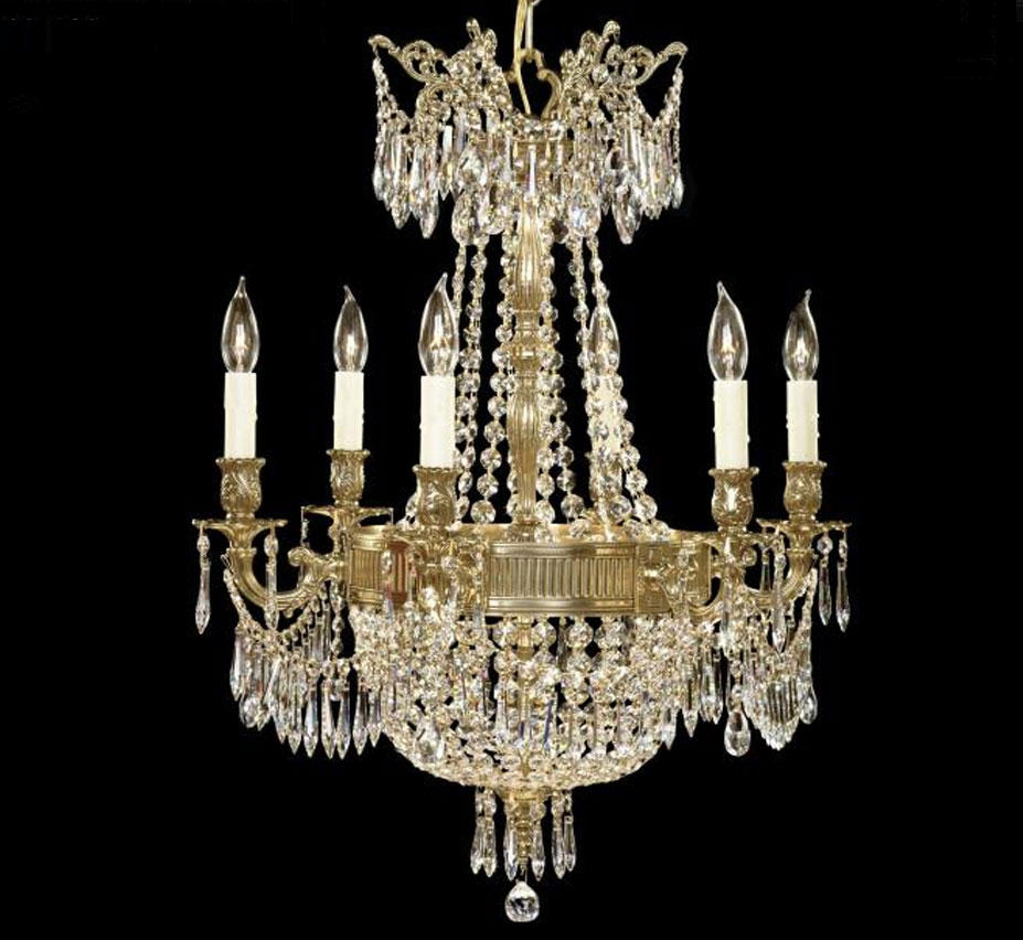 Valencia Collection 6 3 Light Large Brass Crystal Chandelier
