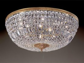 "Large Brass & Crystal Ceiling Lighting - 17"" to 22"" Dia"