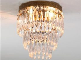 "Medium Brass & Crystal Ceiling Lighting - 13"" to 16"" Dia"