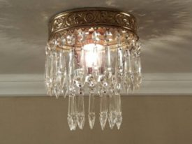 "Small Brass & Crystal Ceiling Lighting - 6"" to 12"" Dia"
