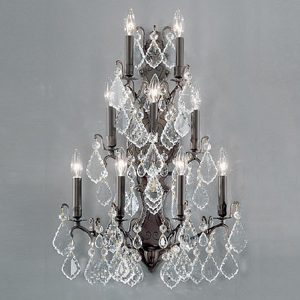 """Extra Large Brass & Crystal Wall Sconces - 21"""" W & Above"""
