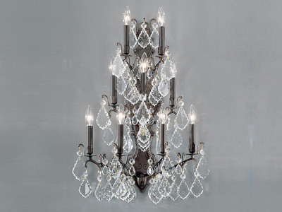 "Extra Large Brass & Crystal Wall Sconces - 21"" W & Above"