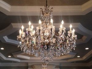 "Large Brass & Crystal Chandeliers - 27"" to 42"""