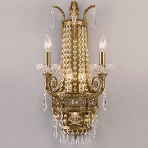 """Large Brass & Crystal Wall Sconces - 15"""" to 20"""" W"""
