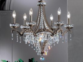 "Medium Brass & Crystal Chandeliers - 17"" to 23"""