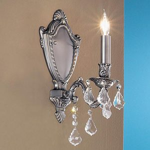 """Small Brass & Crystal Wall Sconces - 3"""" to 8"""" W"""