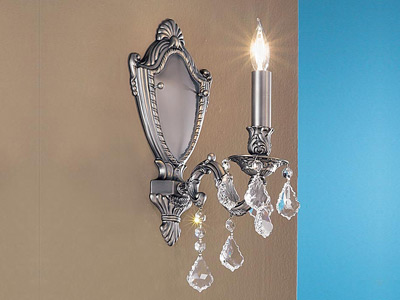 "Small Brass & Crystal Wall Sconces - 3"" to 8"" W"