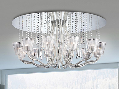 "Medium Crystal Ceiling Lighting - 13"" to 16"" Dia"
