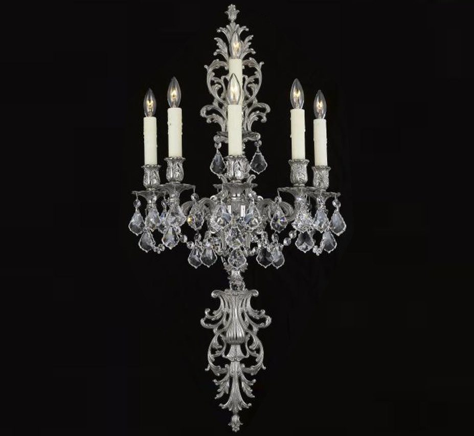 Large Crystal Wall Sconces : Sconce Collection 16? W Large Brass & Crystal Wall Sconce Grand Light
