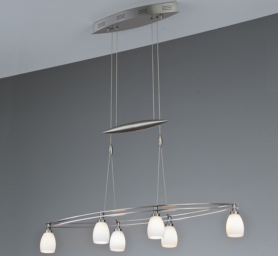 Halogen 6 Light Contemporary Linear Chandelier Grand Light