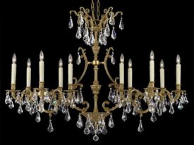 Brass & Crystal Linear Chandeliers