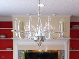 "Medium Glass Chandeliers - 17"" to 26"""