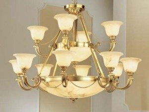 """Large Alabaster Chandeliers - 27"""" to 42"""""""