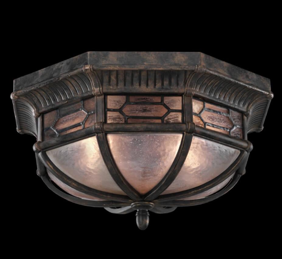 Devonshire 16 Dia Medium Traditional Outdoor Flush Mount Ceiling Light