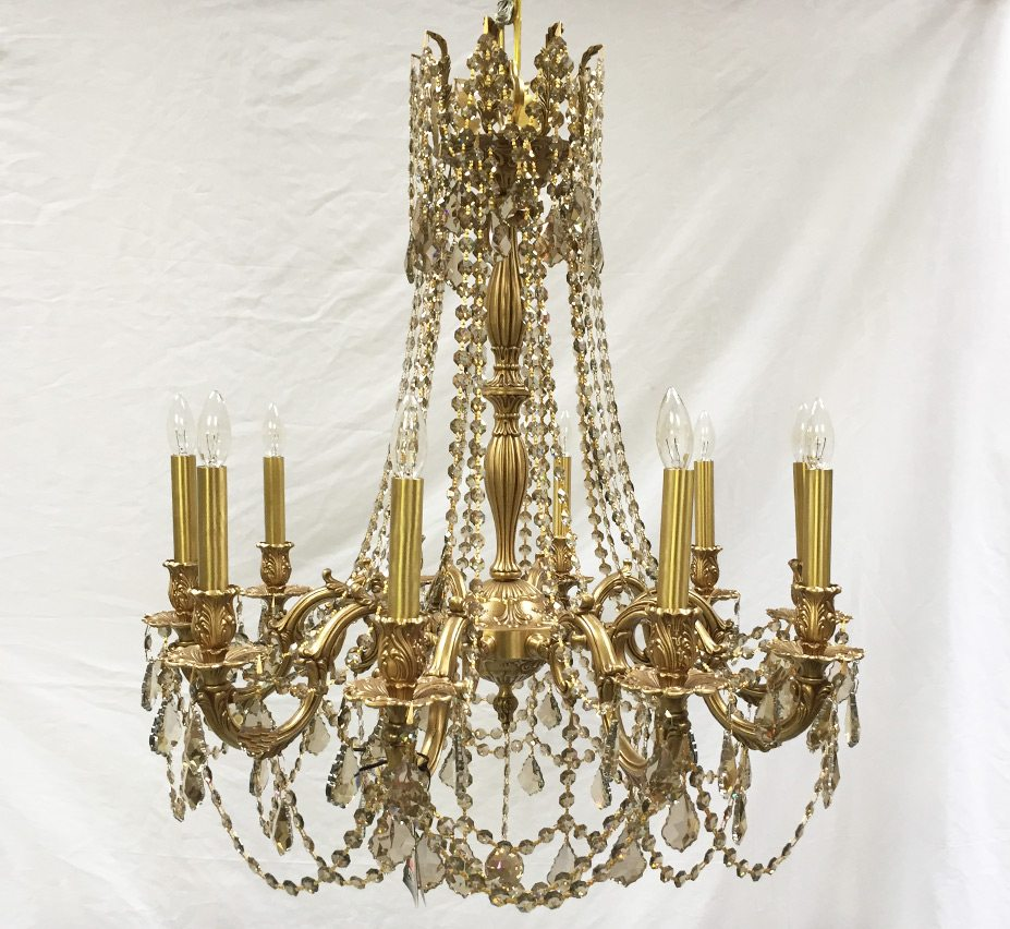 Bella 10 light large vintage chandelier