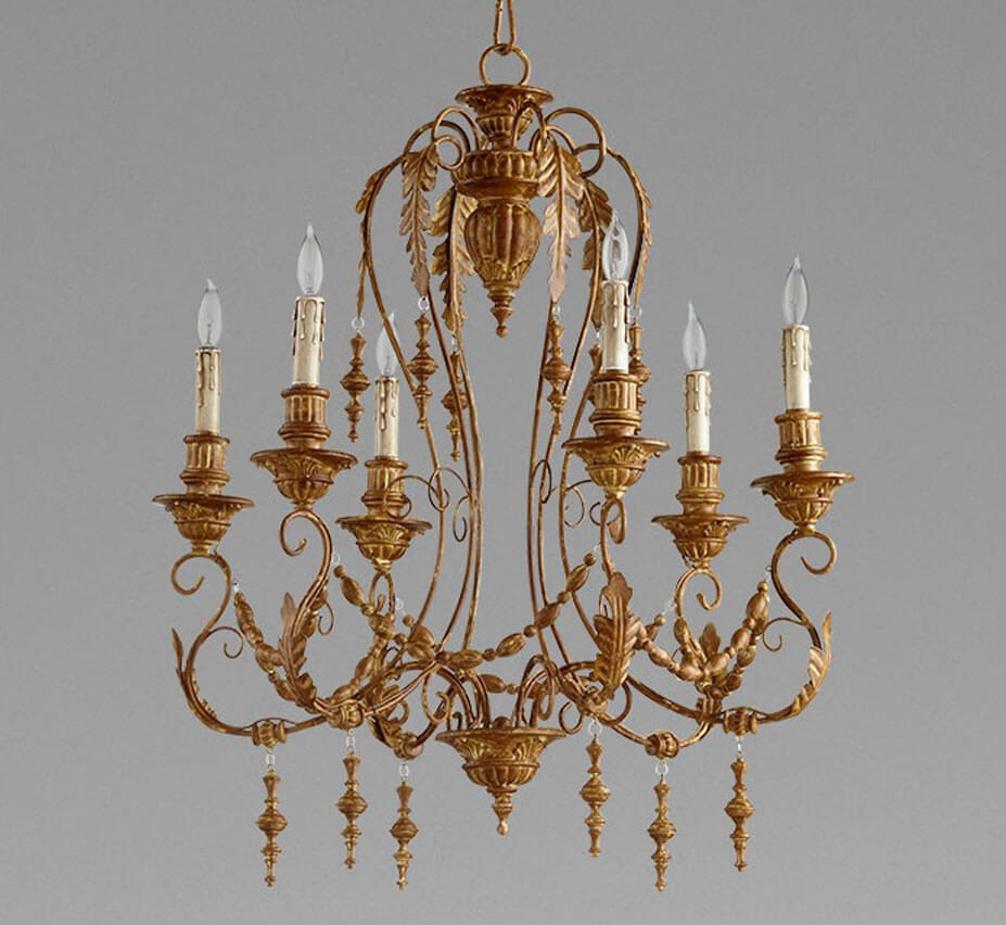 Lolina Large 6 Light Wood And Iron Chandelier Grand Light