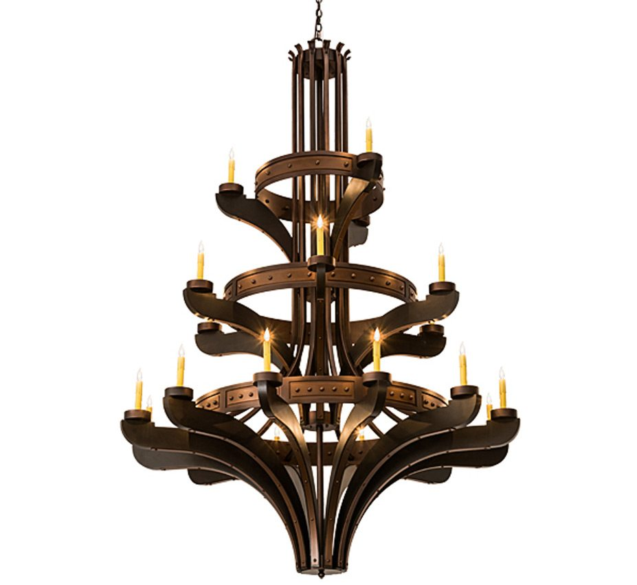 Castilla 21 Lt Extra Large Wood And Iron Chandelier