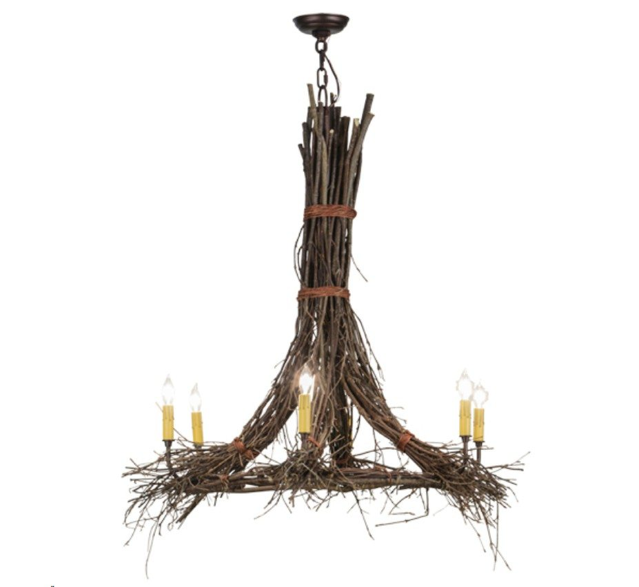 Twigs 6 lt large wood and iron chandelier grand light facebook share aloadofball Image collections