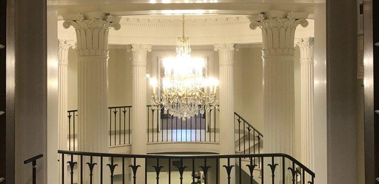 Yales custom chandeliers installed grand light · custom lighting lighting replication