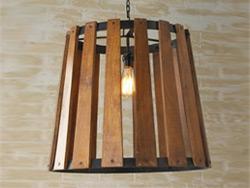"Large Wood & Iron Pendant Lighting - 21"" to 30"" Dia"
