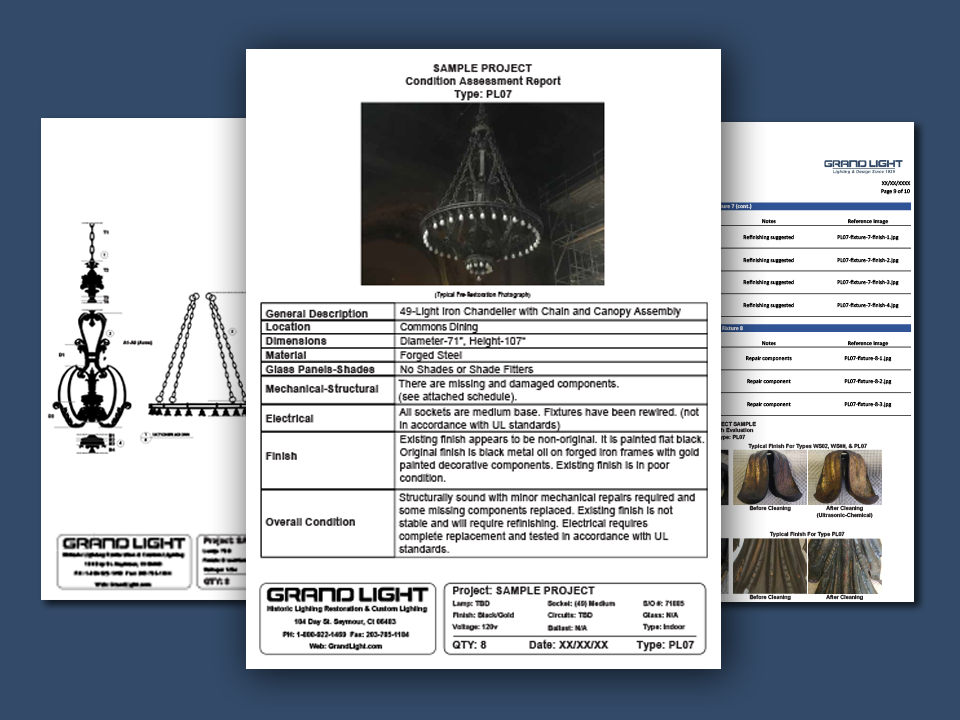 grand light historic lighting evaluation report sample graphic
