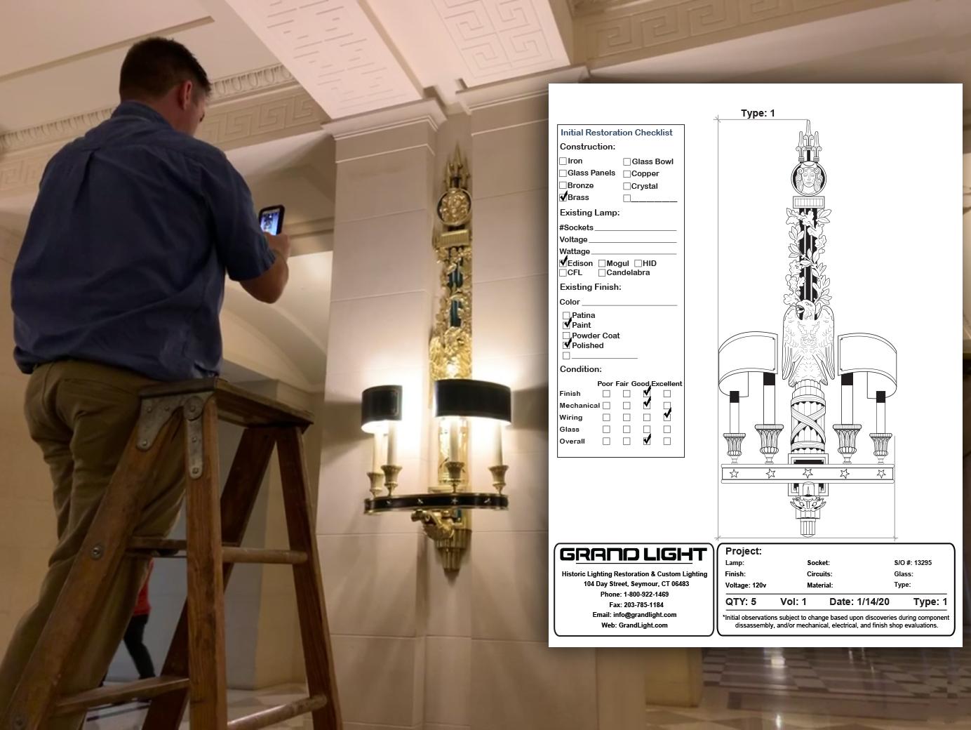 grand light on site lighting fixture installation